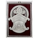 Shola Pith Face of Durga with Decoration Encased in Glass - Wall Hanging