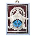 Clay Face of Kali with Sholapith Decoration - Wall Hanging