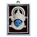 Clay Face of Kali with Shola Pith Decoration - Wall Hanging