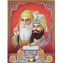 Guru Nanak, Guru Govind Singh and Guru Granth Sahib - (Poster with Glitter)