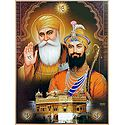 Guru Nanak, Guru Govind Singh and Golden Temple - (Poster with Glitter)