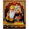 Guru Nanak, Guru Govind Singh and Guru Granth Sahib - Poster with Glitter