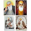 Guru Nanak and Guru Govind Singh Ji - Set of 4 Glitter Posters