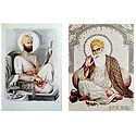 Guru Nanak and Guru Govind Singh Ji - Set of 2 Glitter Posters