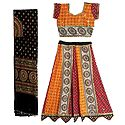 Multicolor Cotton Lehenga and Adjustable Choli with Knotted Back and Elaborate Bead and Sequin Work with Black Dupatta