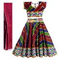 Multicolor Stripe with White Stone Studded Cotton Ram Lila Lehenga Choli and Red Dupatta with Embroidery and Elaborate Sequin Work
