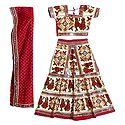 Multicolor Embroidery on Off-White Cotton Lehenga Choli with Red Dupatta and Elaborate Sequin Work