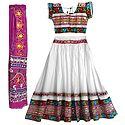 Multicolor Embroidery on White Cotton Lehenga Choli with Magenta Dupatta and Elaborate Sequin Work