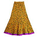 Print on Yellow Crushed Cotton Long Skirt with Adjustable Elastic Waist