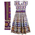 Multicolor Embroidery on Purple Cotton Lehenga Choli with Dupatta and Elaborate Sequin Work