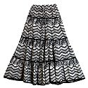 Black and White Cotton Long Skirt with Adjustable Elastic Waist