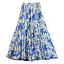 Blue Floral Print on White Satin Long Skirt