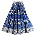 Blue, White and Grey Sangeneri Print Cotton Skirt
