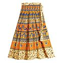 Animal Print on Beige and Saffron Wrap Around Cotton Skirt