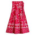 Sangeneri Print on Red Wrap Around Skirt