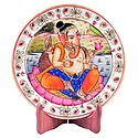 Ganesha Painting on Marble Plate - Showpiece