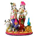 Krishna, Balaram with Cow - Marble Dust Statue