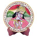 Murlidhar Krishna Painting on Marble Plate - Showpiece