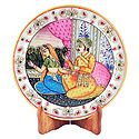 Mughal King and Queen Painting on Marble Plate - Showpiece
