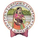 Lady with Kalash - Painting on Marble Plate - Showpiece