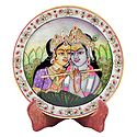 Radha Krishna Painting on Marble Plate - Showpiece