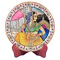 Rajput Princess Painting on Marble Plate - Showpiece