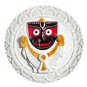 Jagannath, Balaram, Subhadra on a Round White Lotus - Wall Hanging
