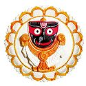 Jagannathdev on a Round White Lotus - Wall Hanging