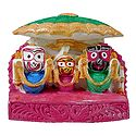Jagannath, Balaram, Subhadra Under Green Umbrella
