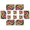Set of 6 Dining Table Mats and Coasters with Fruit  Print