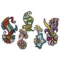 Set of 5 Multicolor Glitter Tattoos