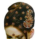 Golden and Rust Color Stone Studded Stick-on Hair Decoration (Can Be used on Other Parts of the Body)