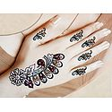 Multicolor Glitter with Bead Sticker Mehendi for Single Hand