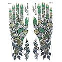 Set of Green,Black with Golden Glitter Sticker Mehendi for Hand and Body Decor