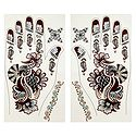Pair of Maroon, Black with Silver Glitter Sticker Mehendi