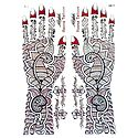 Set of Maroon with Silver Glitter Sticker Mehendi for Hand and Body Decor