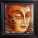 Lord Buddha on Wooden Frame - Terracotta Wall Hanging