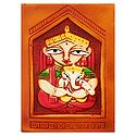 Goddess Durga with Ganesha - Terracotta Wall Hanging