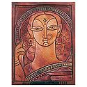 Bengali Woman - Jamini Roy Style Wall Hanging