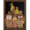Jagannath, Balaram, Subhadra with Temple in the Background (Glitter Painting)
