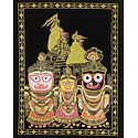 Jagannath, Balaram, Subhadra with Temple in the Background - (Silver and Golden Glitter Painting)