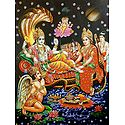 Brahma Emerging From The Navel of Vishnu with Lakshmi At His Feet - Glitter Poster