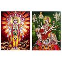 Vishnu and Vaishno Devi - Set of 2 Glitter Posters