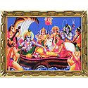 Vishnu with Lakshmi and Other Gods and Goddesses - Table Top Picture