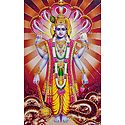 Lord Vishnu on Sheshnag - Glitter Poster