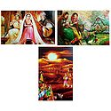 Musicians, Rajasthani People and Ladies in Front of Beautiful House - Set of 3 Posters