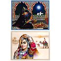 Rajasthani Woman and Indian Bride - Set of 2 Posters