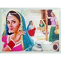 Village Women Doing Household Chores