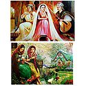 Musicians and Ladies in Front of Beautiful House - Set of 2 Posters
