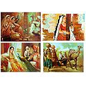 Rajasthani Women - Set of 4 Unframed Posters